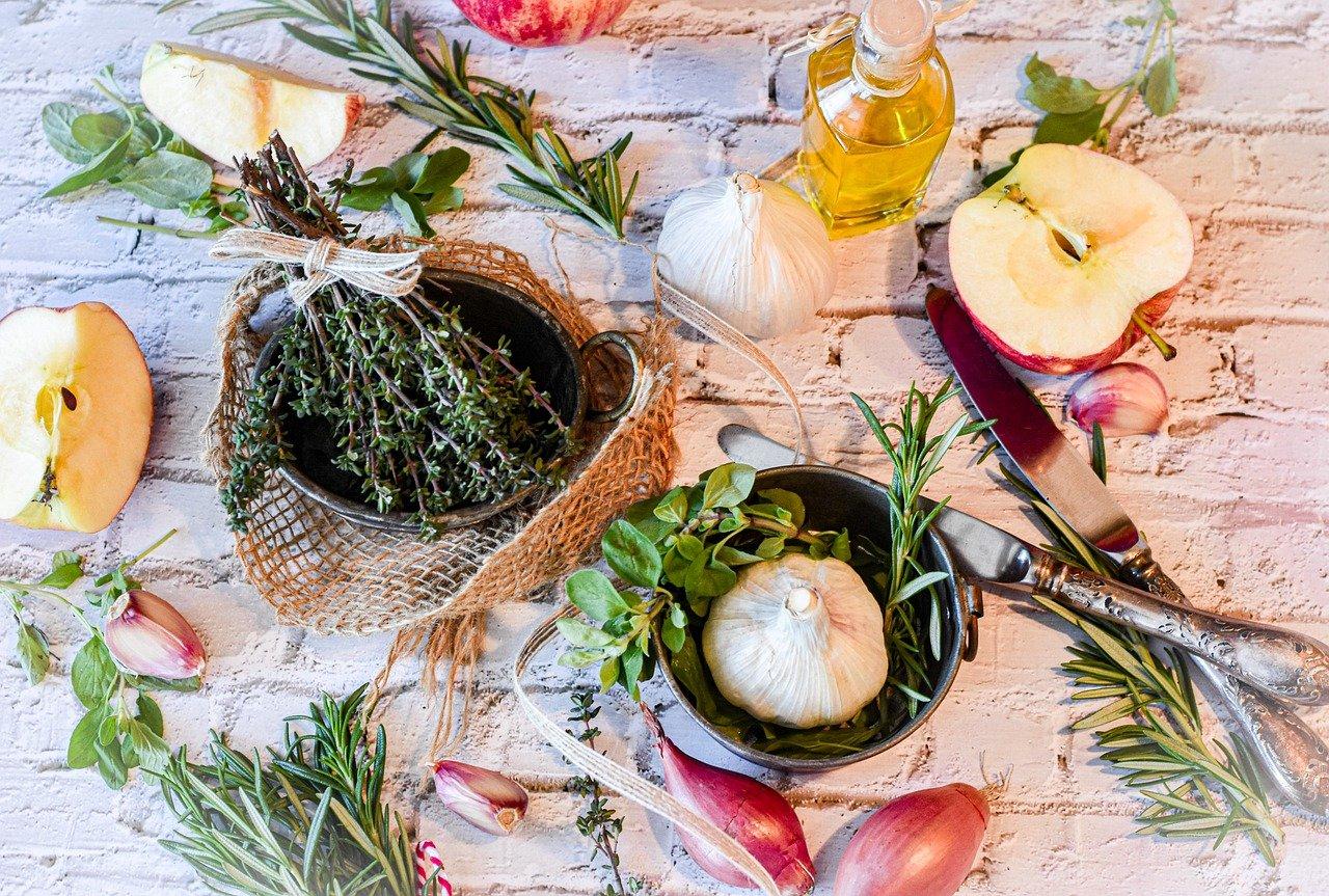 spices, herbs, garlic